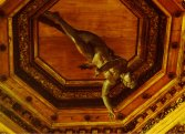 The statue of Apollo on the ceiling at Teatro Anatomico